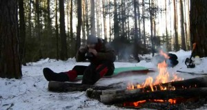 A winter camp in the forest