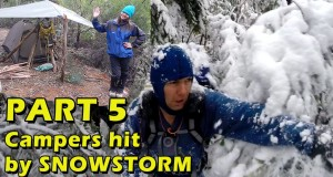Bushcraft Camping Part 5, Chilling Snowstorm hits Campers