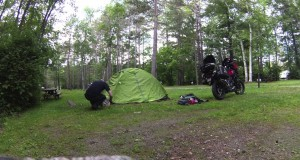 Camping on a Motorcycle – Setting up the tent