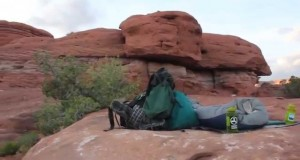 Camping on a rock without a tent