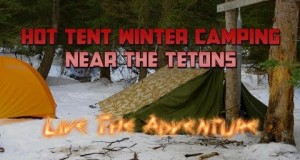 Hot Tent Winter Camping near Tetons