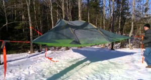 Pitching our Tentsile,a camping hammock type tent, bit like floating treehouse in NB, 01.01.2015