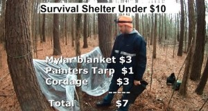 Under $10 Camping Shelter 1  Mylar blanket , Cordage and Painters Tarp
