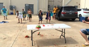 Watermelon Explosion Using Rubber Bands – 2015 Summer Camp For Kids in Southlake TX
